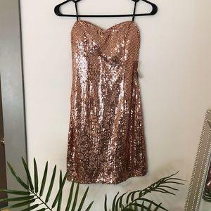 Rose gold strapless sequin mini dress